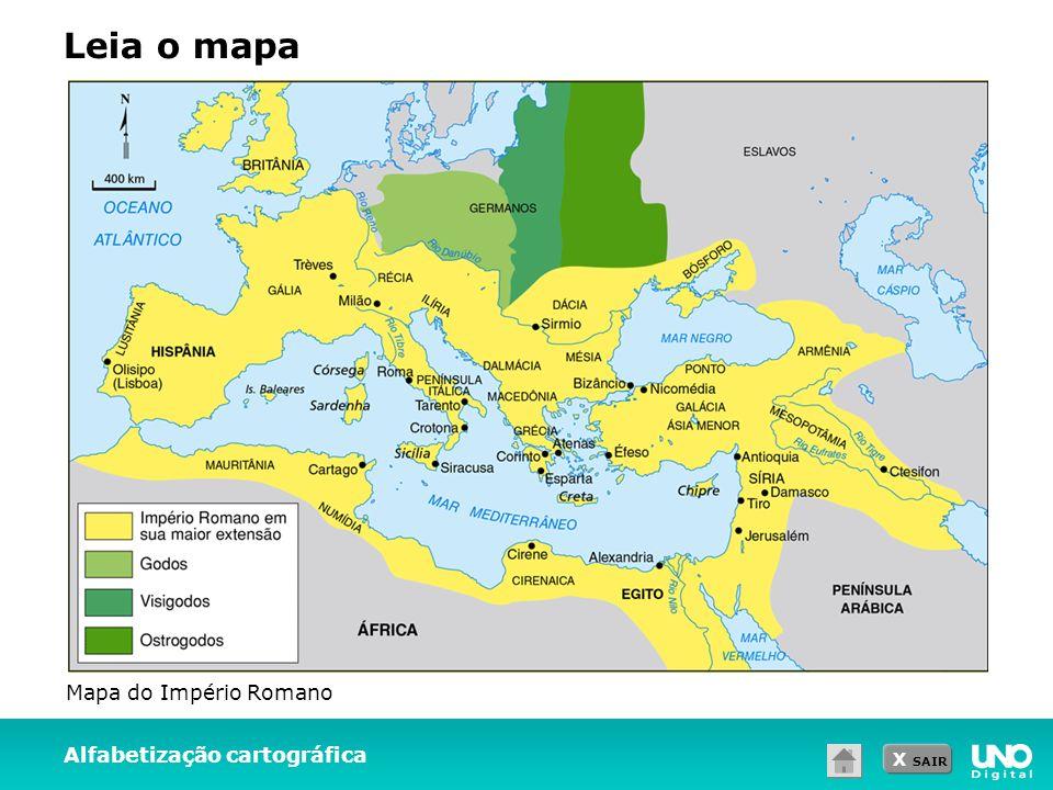 Leia o mapa Mapa do Império Romano Alfabetização cartográfica