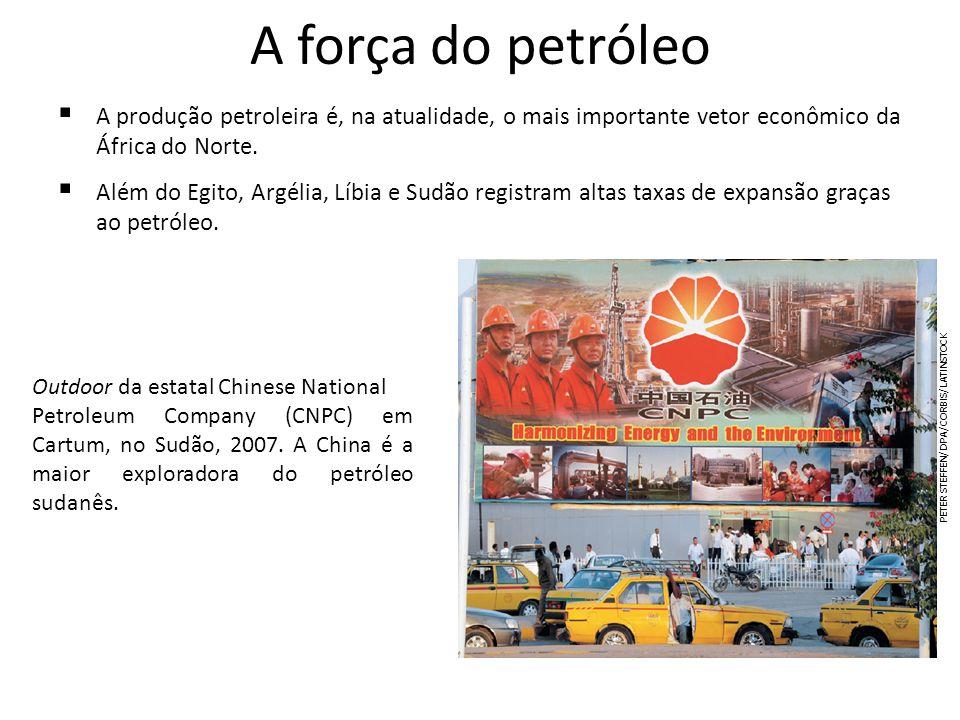 A força do petróleoA produção petroleira é, na atualidade, o mais importante vetor econômico da África do Norte.