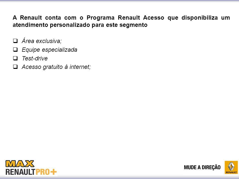 A Renault conta com o Programa Renault Acesso que disponibiliza um atendimento personalizado para este segmento