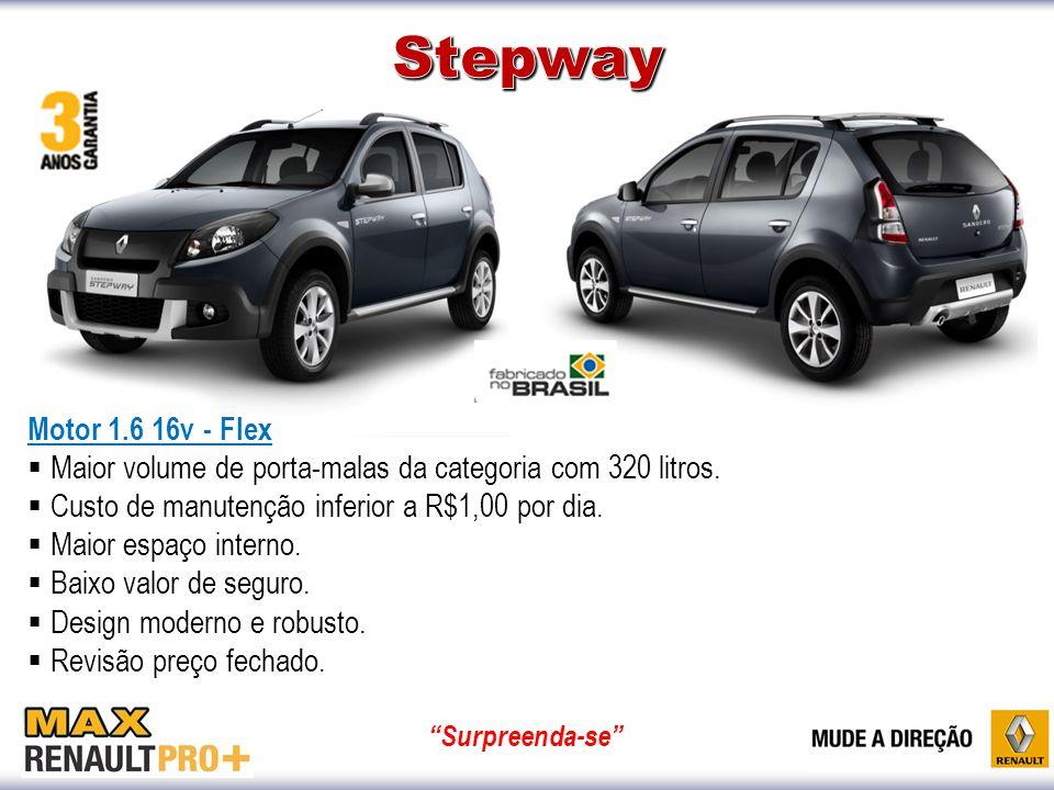 Stepway Motor 1.6 16v - Flex. Maior volume de porta-malas da categoria com 320 litros. Custo de manutenção inferior a R$1,00 por dia.