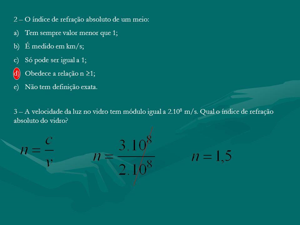 2 – O índice de refração absoluto de um meio: