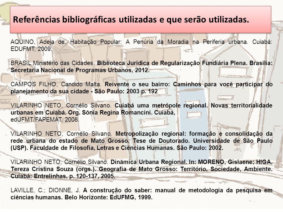 Referências bibliográficas utilizadas e que serão utilizadas.