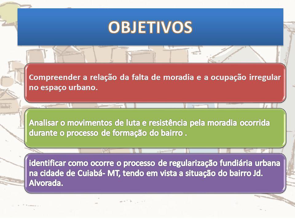OBJETIVOS Compreender a relação da falta de moradia e a ocupação irregular no espaço urbano.