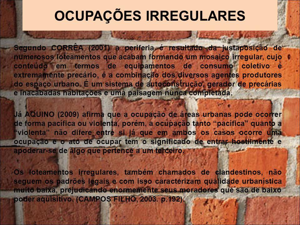 OCUPAÇÕES IRREGULARES