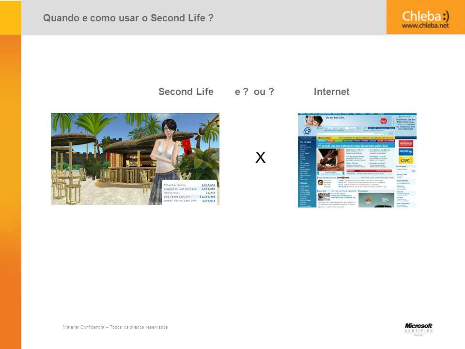 X Quando e como usar o Second Life Second Life e ou Internet 2