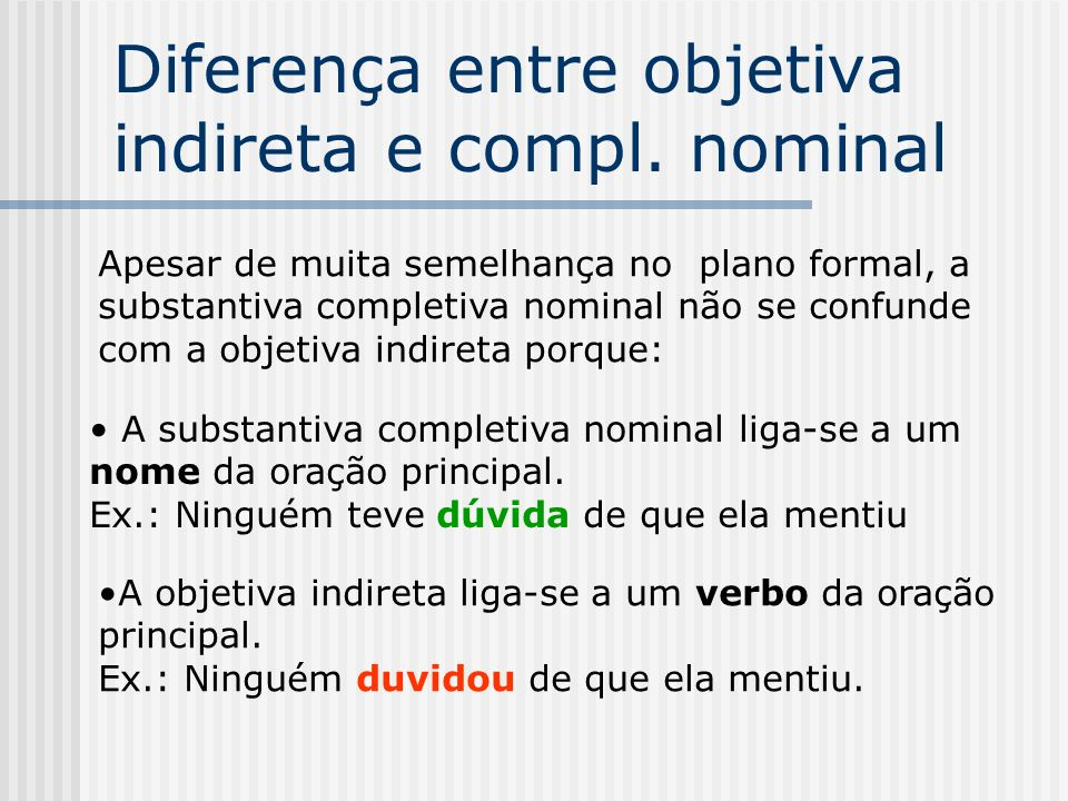 Diferença entre objetiva indireta e compl. nominal