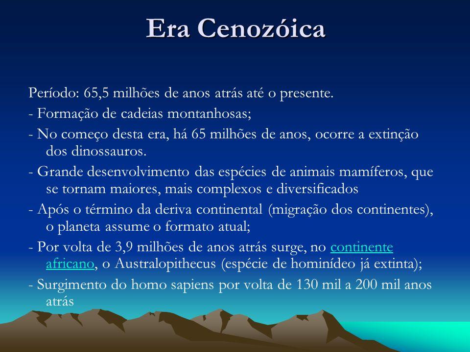 Era Cenozóica Período: 65,5 milhões de anos atrás até o presente.