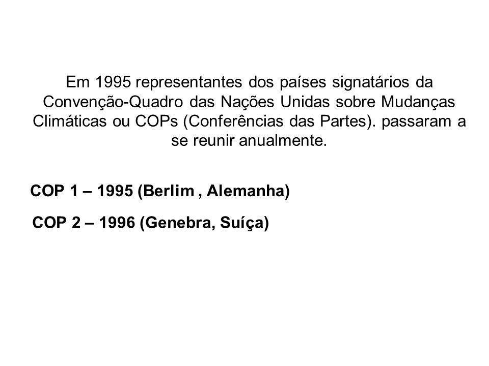 Em 1995 representantes dos países signatários da Convenção-Quadro das Nações Unidas sobre Mudanças Climáticas ou COPs (Conferências das Partes). passaram a se reunir anualmente.