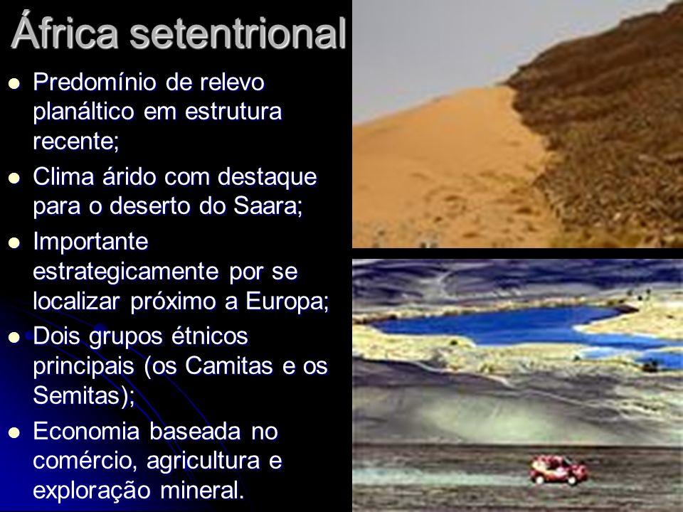 África setentrionalPredomínio de relevo planáltico em estrutura recente; Clima árido com destaque para o deserto do Saara;