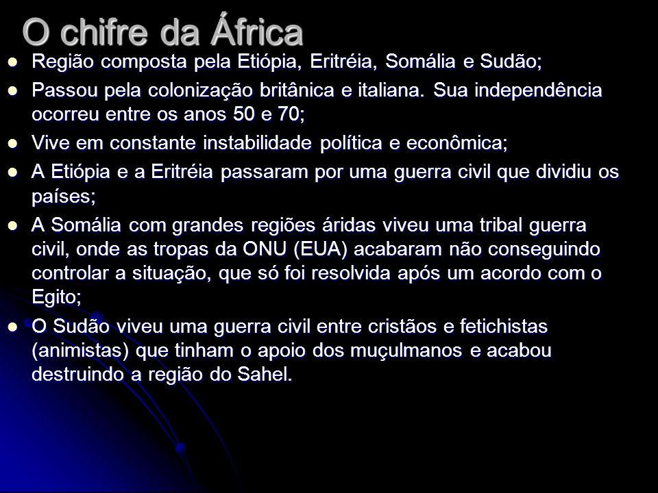 O chifre da ÁfricaRegião composta pela Etiópia, Eritréia, Somália e Sudão;