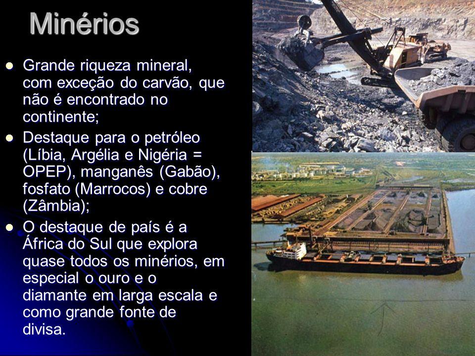 Minérios Grande riqueza mineral, com exceção do carvão, que não é encontrado no continente;