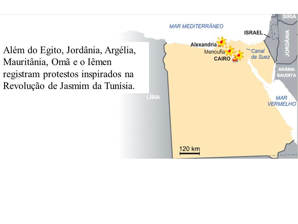 Além do Egito, Jordânia, Argélia, Mauritânia, Omã e o Iêmen registram protestos inspirados na Revolução de Jasmim da Tunísia.