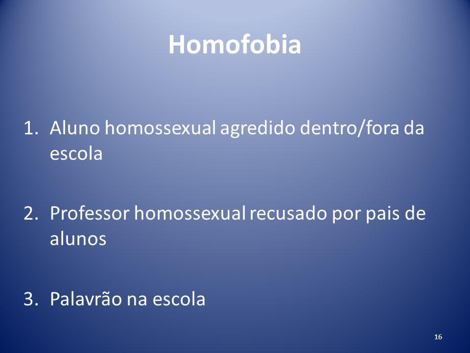 Homofobia Aluno homossexual agredido dentro/fora da escola