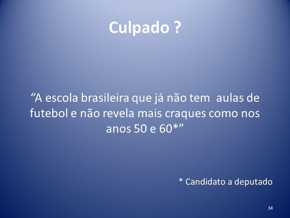 Culpado A escola brasileira que já não tem aulas de futebol e não revela mais craques como nos anos 50 e 60*