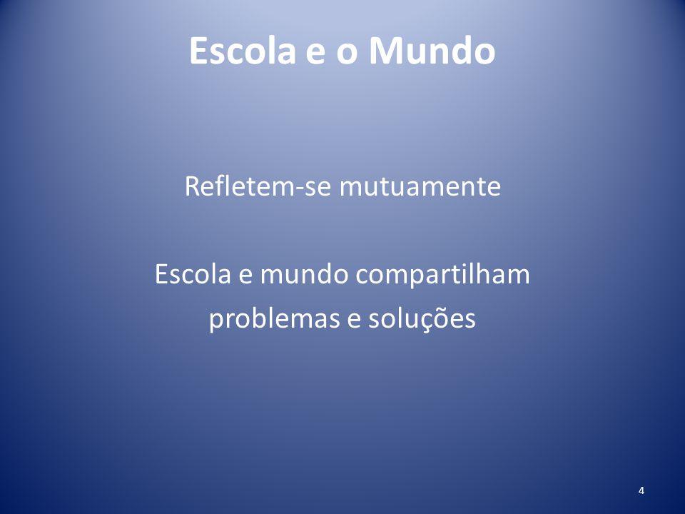 Escola e o Mundo Refletem-se mutuamente Escola e mundo compartilham problemas e soluções