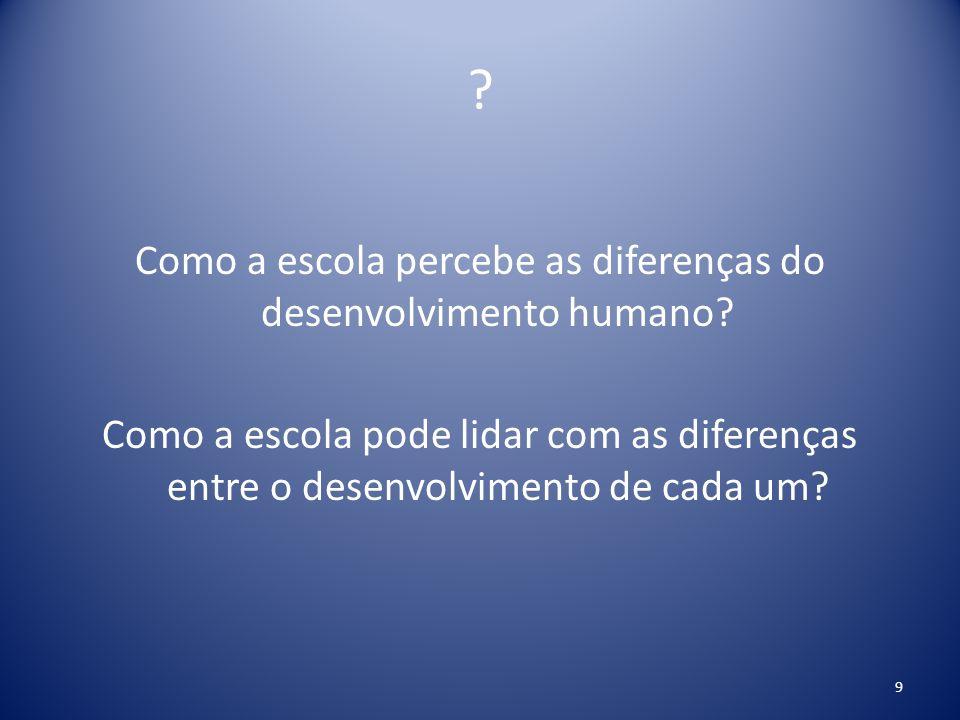 Como a escola percebe as diferenças do desenvolvimento humano.