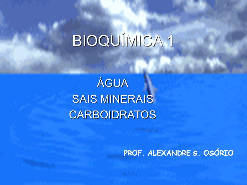 BIOQUÍMICA 1 ÁGUA SAIS MINERAIS CARBOIDRATOS PROF. ALEXANDRE S. OSÓRIO