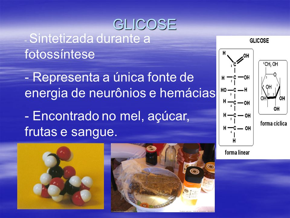 GLICOSE Representa a única fonte de energia de neurônios e hemácias