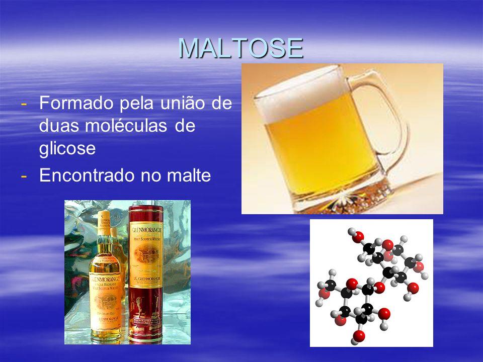 MALTOSE Formado pela união de duas moléculas de glicose