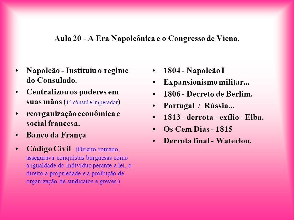 Aula 20 - A Era Napoleônica e o Congresso de Viena.