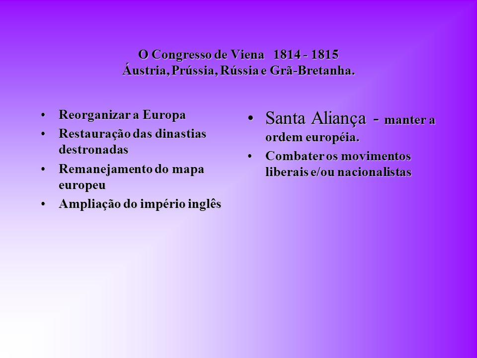 Santa Aliança - manter a ordem européia.