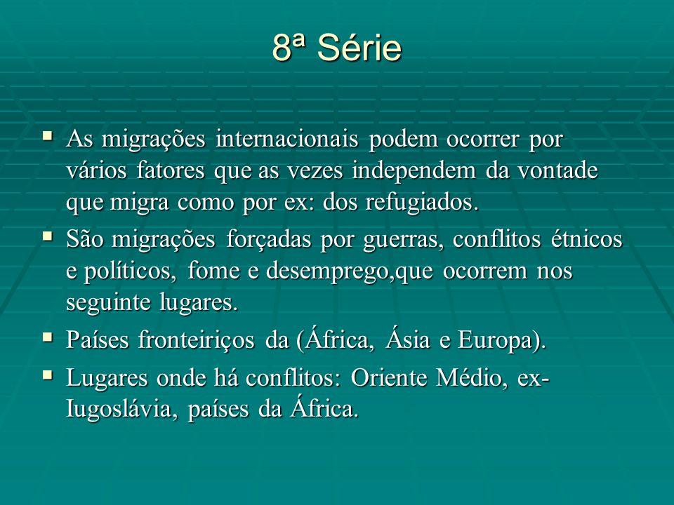 8ª Série As migrações internacionais podem ocorrer por vários fatores que as vezes independem da vontade que migra como por ex: dos refugiados.
