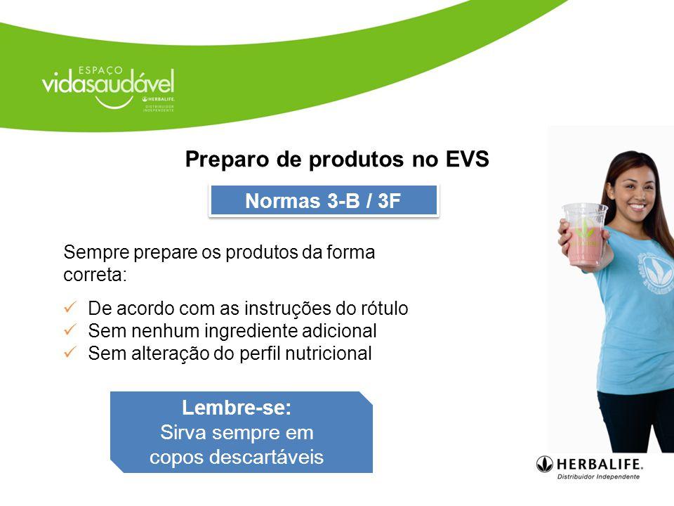 Preparo de produtos no EVS
