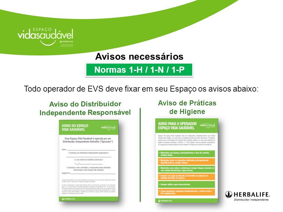 Avisos necessários Normas 1-H / 1-N / 1-P