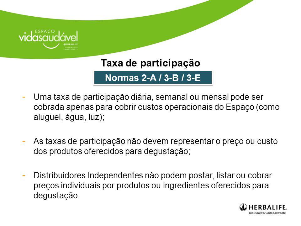 Taxa de participação Normas 2-A / 3-B / 3-E
