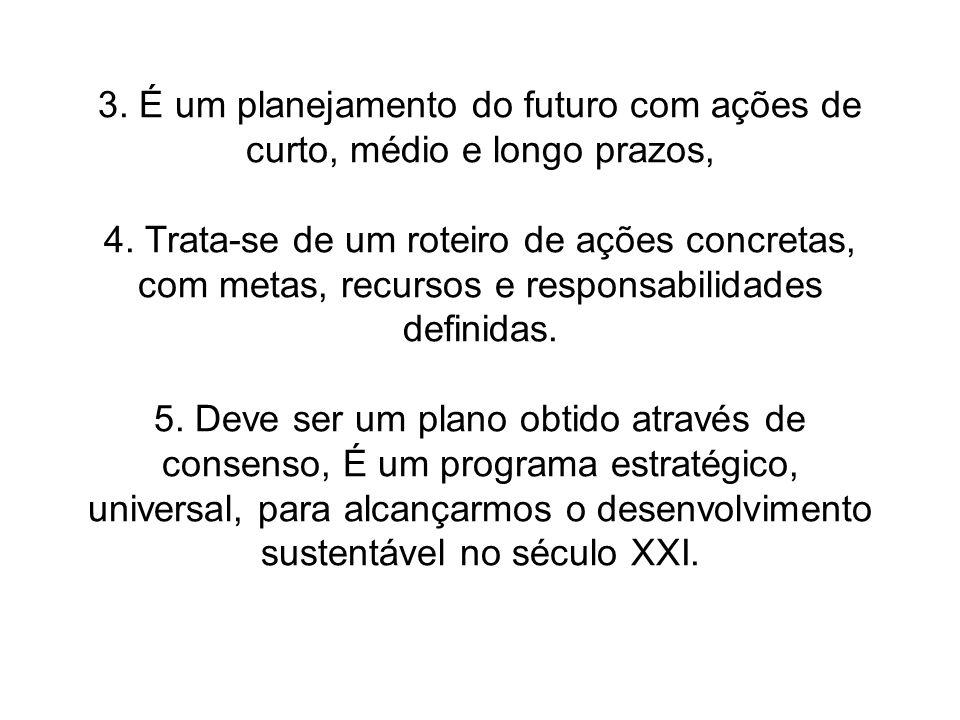 3. É um planejamento do futuro com ações de curto, médio e longo prazos,