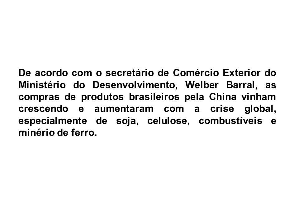 De acordo com o secretário de Comércio Exterior do Ministério do Desenvolvimento, Welber Barral, as compras de produtos brasileiros pela China vinham crescendo e aumentaram com a crise global, especialmente de soja, celulose, combustíveis e minério de ferro.
