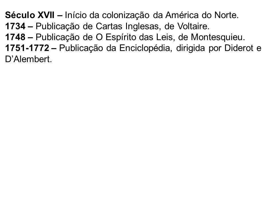 Século XVII – Início da colonização da América do Norte.