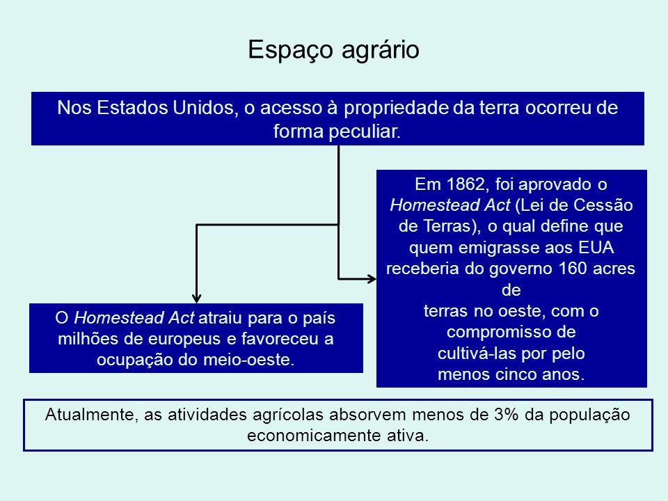 Espaço agrário Nos Estados Unidos, o acesso à propriedade da terra ocorreu de forma peculiar.