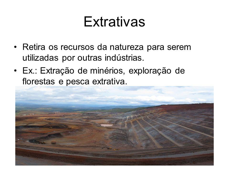 ExtrativasRetira os recursos da natureza para serem utilizadas por outras indústrias.