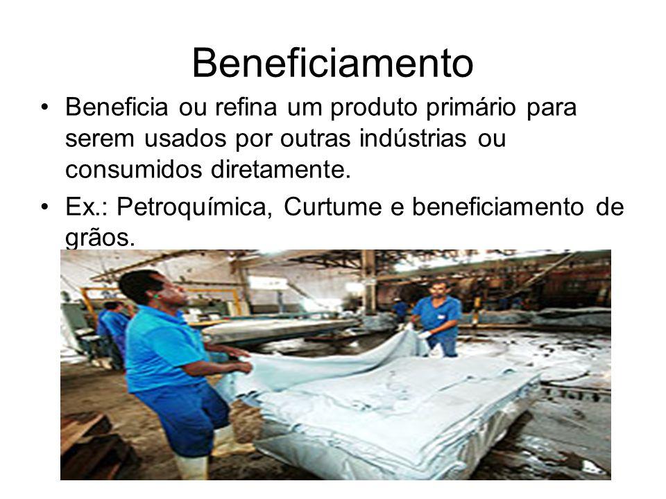 BeneficiamentoBeneficia ou refina um produto primário para serem usados por outras indústrias ou consumidos diretamente.