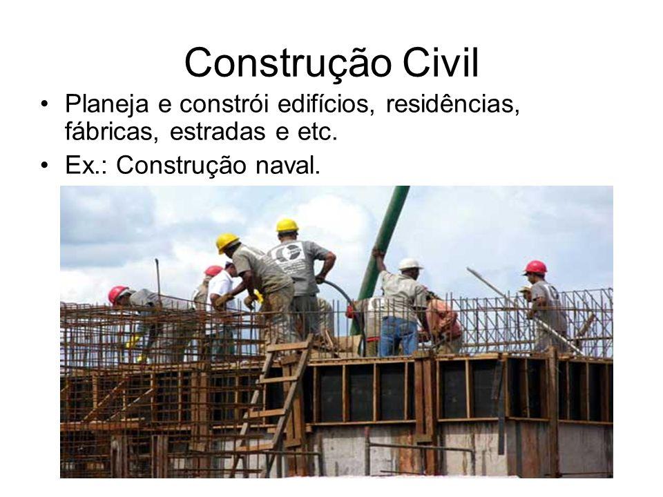 Construção Civil Planeja e constrói edifícios, residências, fábricas, estradas e etc.