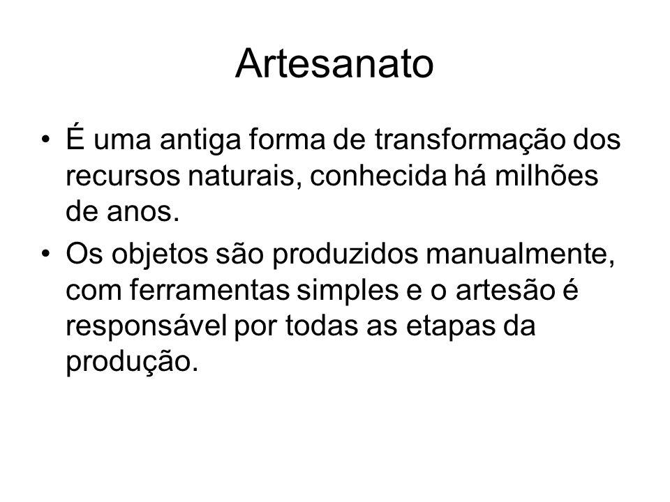 ArtesanatoÉ uma antiga forma de transformação dos recursos naturais, conhecida há milhões de anos.