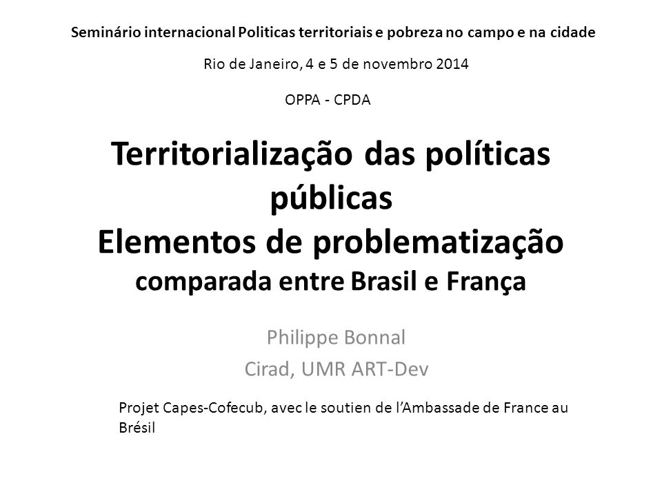 Philippe Bonnal Cirad, UMR ART-Dev