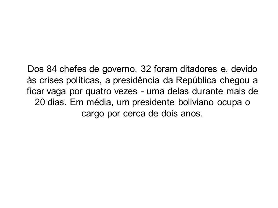 Dos 84 chefes de governo, 32 foram ditadores e, devido às crises políticas, a presidência da República chegou a ficar vaga por quatro vezes - uma delas durante mais de 20 dias.