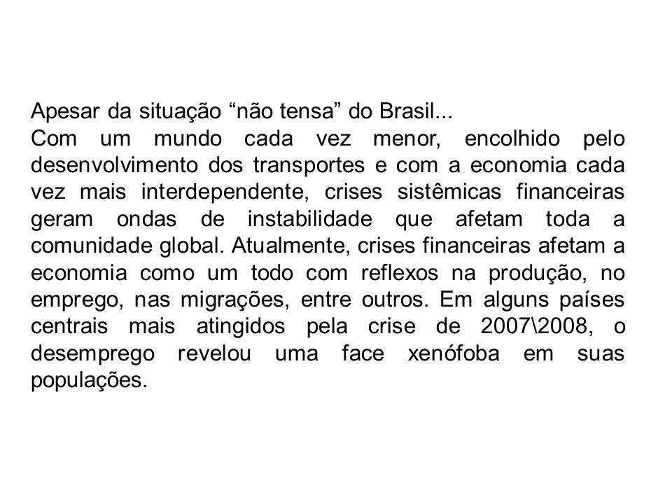 Apesar da situação não tensa do Brasil...