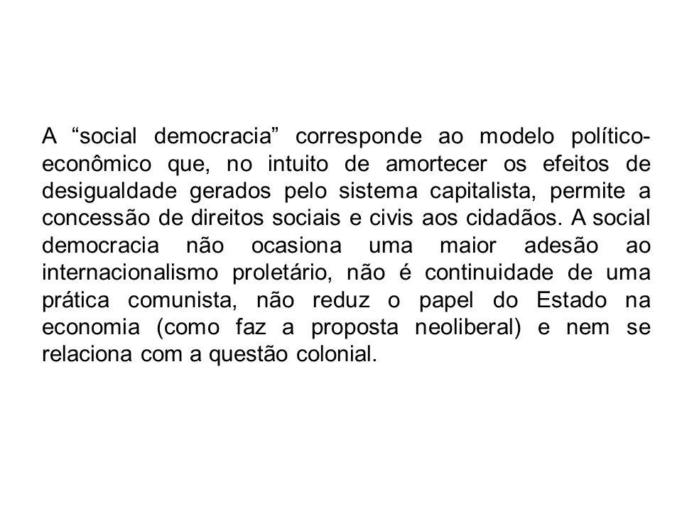 A social democracia corresponde ao modelo político-econômico que, no intuito de amortecer os efeitos de desigualdade gerados pelo sistema capitalista, permite a concessão de direitos sociais e civis aos cidadãos.