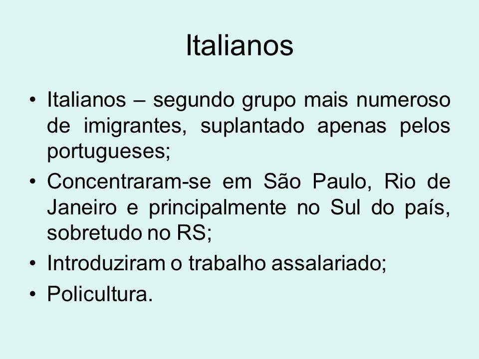 Italianos Italianos – segundo grupo mais numeroso de imigrantes, suplantado apenas pelos portugueses;