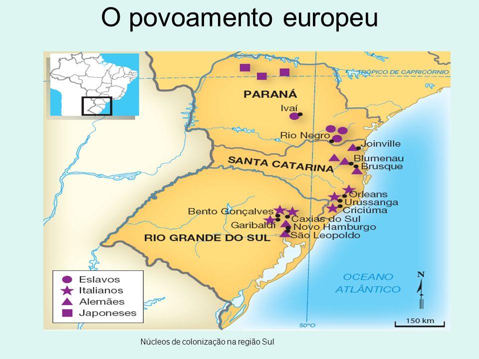 Núcleos de colonização na região Sul