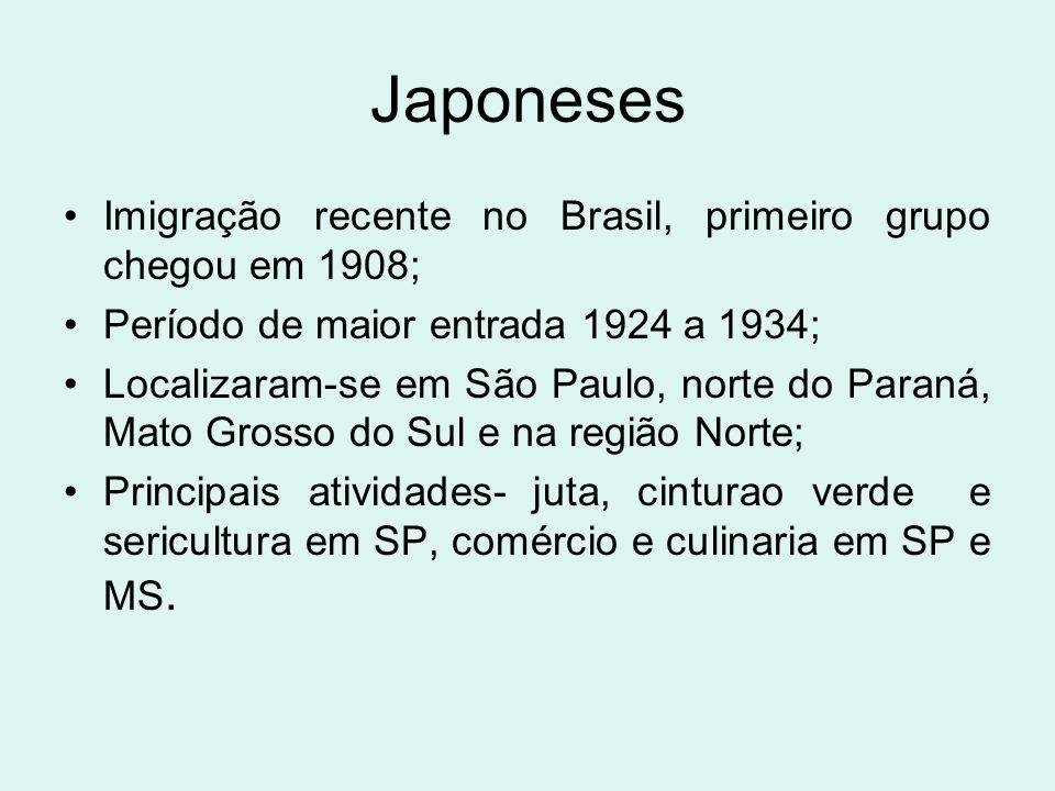 Japoneses Imigração recente no Brasil, primeiro grupo chegou em 1908;