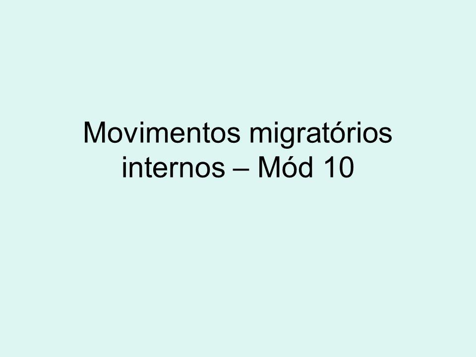 Movimentos migratórios internos – Mód 10