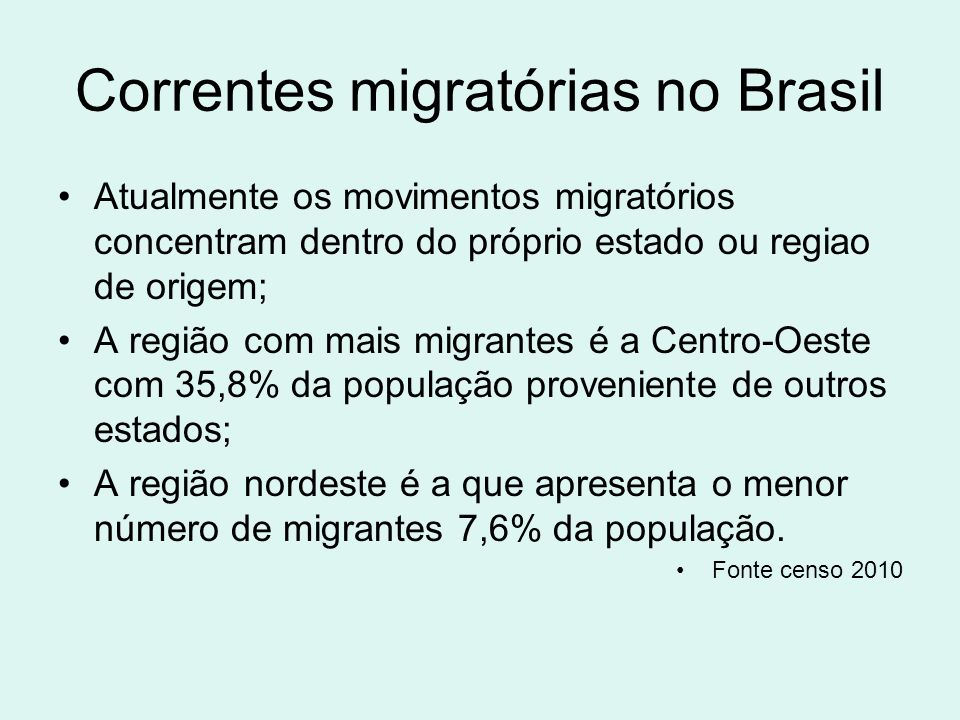 Correntes migratórias no Brasil