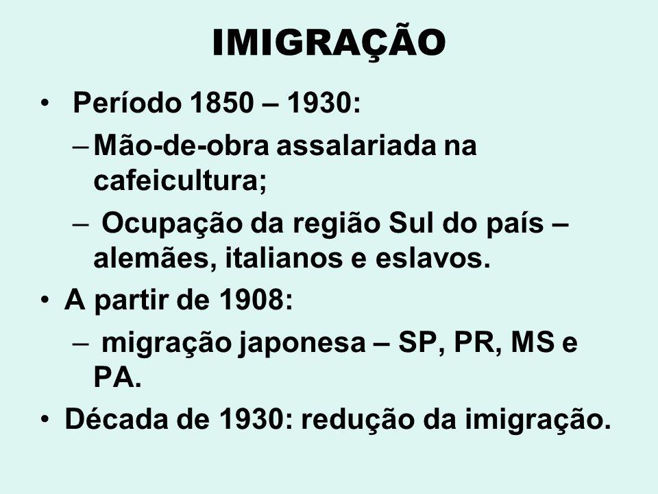 IMIGRAÇÃO Período 1850 – 1930: Mão-de-obra assalariada na cafeicultura; Ocupação da região Sul do país – alemães, italianos e eslavos.