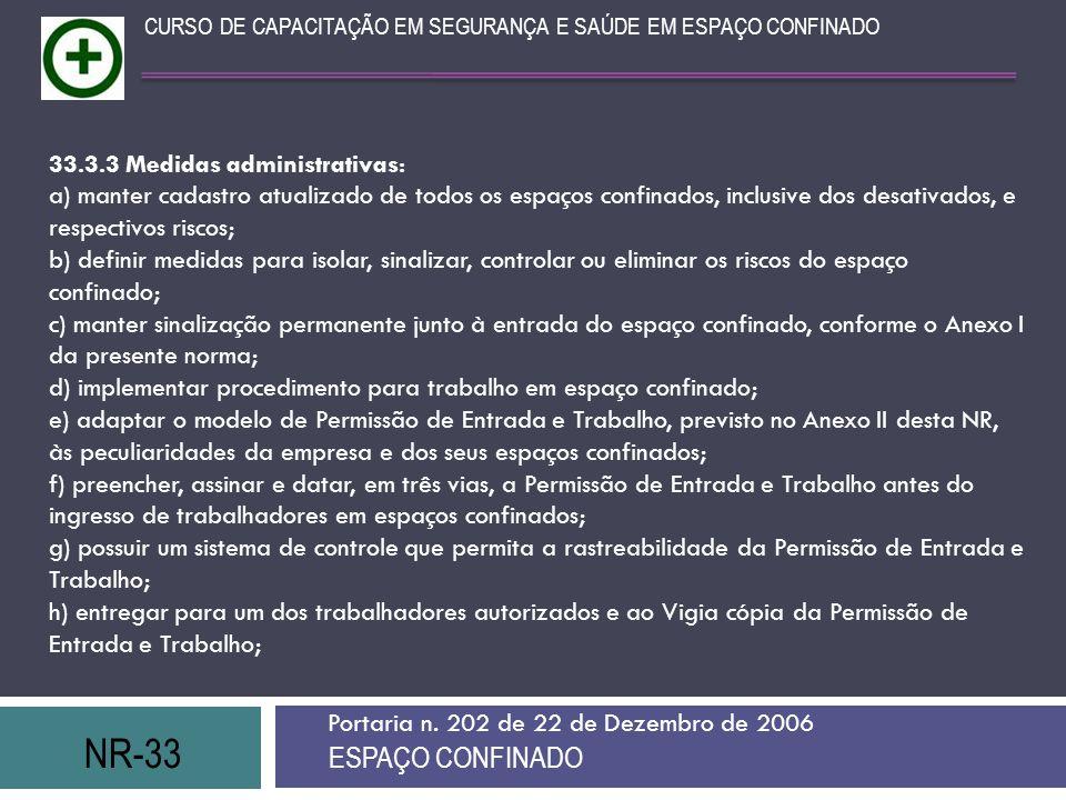 NR-33 ESPAÇO CONFINADO 33.3.3 Medidas administrativas: