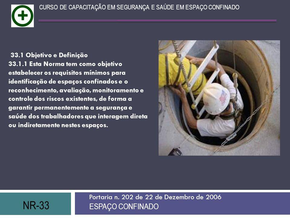 NR-33 ESPAÇO CONFINADO 33.1 Objetivo e Definição