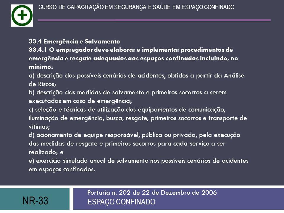 NR-33 ESPAÇO CONFINADO 33.4 Emergência e Salvamento